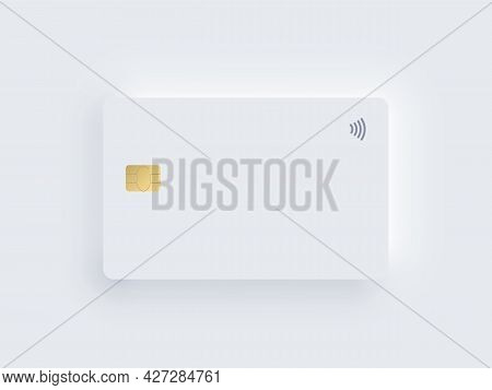 Neumorphism Plastic Bank Credit Card Template With Gold Chip And Shadow. Vector Realistic Object Iso