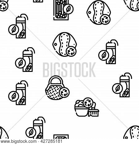 Zero Waste Products Vector Seamless Pattern Thin Line Illustration