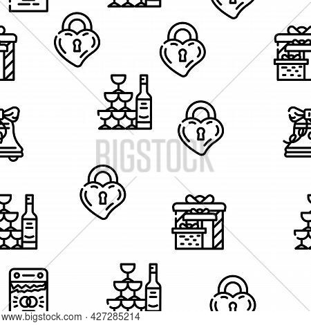 Wedding Day Accessory Vector Seamless Pattern Thin Line Illustration