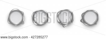 Silver Wax Seals Set Isolated On White Background. Vintage Postage Metal Stamps. Vector Design Eleme