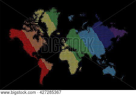 World Map In Colourful Dots On Black Background. Earth Continents In Rainbow Colours Vector Illustra