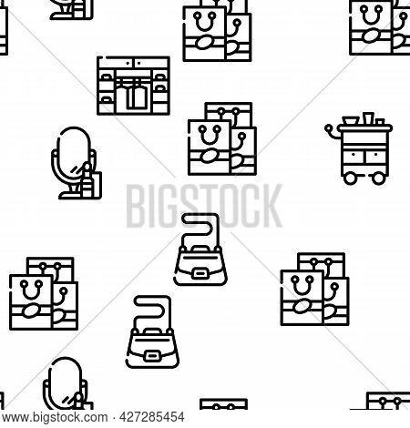 Stylist Accessory Vector Seamless Pattern Thin Line Illustration