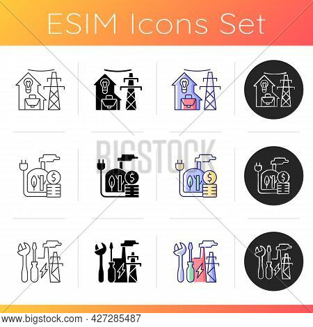 Electrical Power Icons Set. Utility For Residential House. Geothermal Energy Production Cost. Indsut