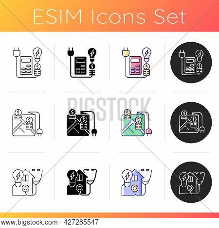 Electrical Energy Icons Set. Price Rebates And Discount For Power Consumption. Location On Map Of El