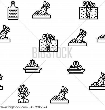 Wasabi Japanese Vector Seamless Pattern Thin Line Illustration
