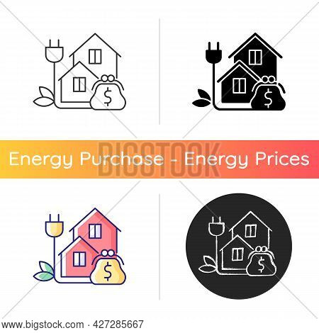 Green Pricing Program Icon. Utility Service Cost For Residential Buildings. Paying For Electrical Po
