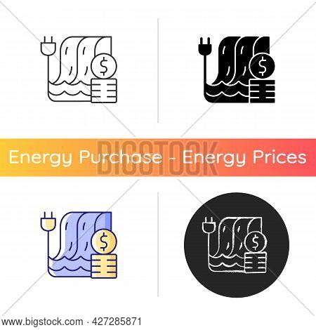 Hydropower Pricing Icon. Water Dam For Sustainable Production Of Electricity. Financial Cost Of Util