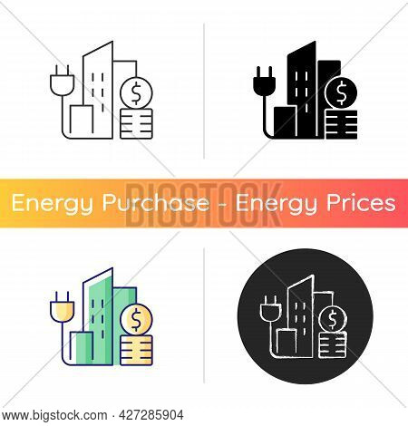 Urban Energy Price Icon. Electricity Consumption In City District. Power Utility Service For Buildin
