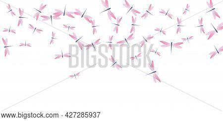 Fairy Rosy Pink Dragonfly Cartoon Vector Illustration. Spring Pretty Damselflies. Decorative Dragonf