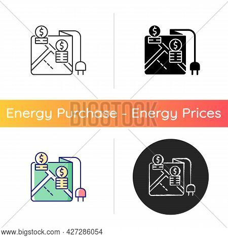 Pricing By Locality Icon. Location On Map For Point Of Electricity Usage. Tracking Payment For Power