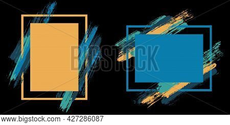 Frames With Paint Brush Strokes Vector Set.