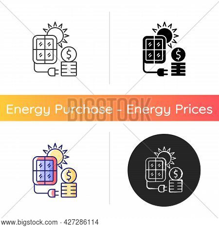 Solar Energy Price Icon. Pv Panels For Sun Power Generation. Cost For Sustainable Resource Consumpti