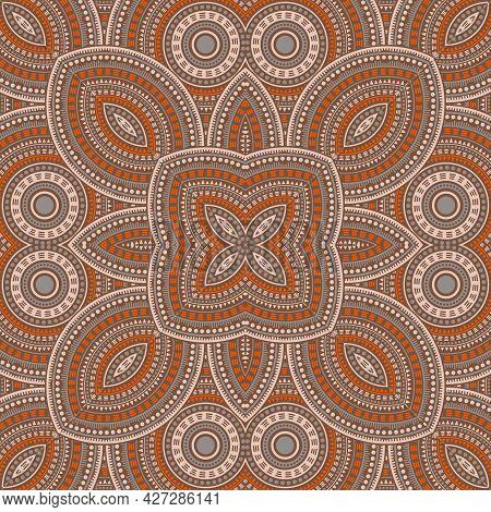 Cute Victorian Majolica Tile Seamless Rapport. Ethnic Geometric Vector Patchwork. Quilt Print Design
