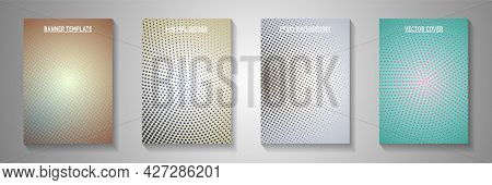 Decorative Dot Faded Screen Tone Front Page Templates Vector Series. Industrial Journal Perforated