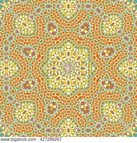 Tile Azulejos Mosaic Seamless Pattern, Oriental Ethnic Patchwork