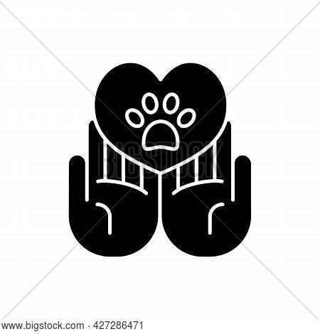 Animal Friendly Black Glyph Icon. Veterinary Care For Dogs And Cats. Pet Health And Protection. Crue
