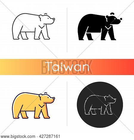 Formosan Bear Icon. White-throated Taiwanesse Mammal. Asiatic Wildlife Representation. Stocky Build