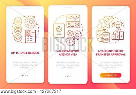 Traineeship Abroad Must-haves Onboarding Mobile App Page Screen. Academic Credit Walkthrough 3 Steps