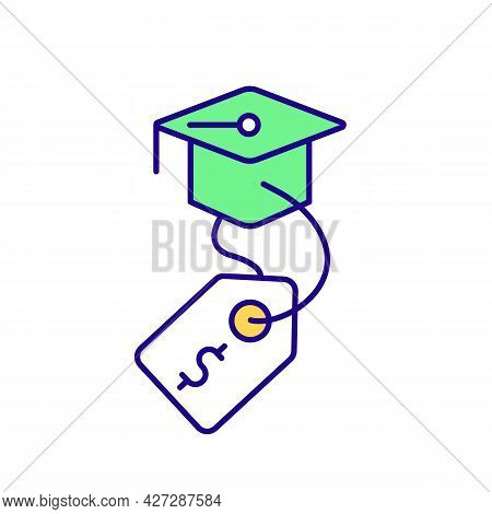Paid Internship Program For Students Rgb Color Icon. Online Courses, Trainings. Isolated Vector Illu