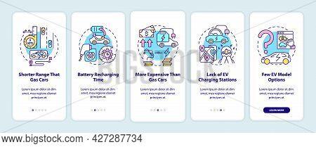 Electric Vehicles Disadvantages Onboarding Mobile App Page Screen. Ev Limitations Walkthrough 5 Step