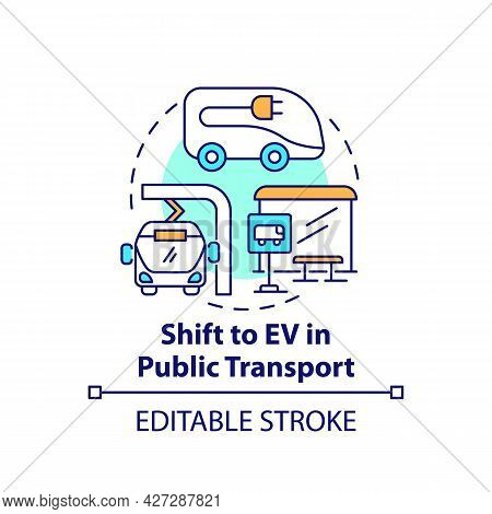 Public Transportation Electric Vehicles Concept Icon. Ev Transit Efficiency Abstract Idea Thin Line