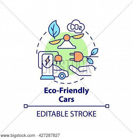 Eco Friendly Cars Concept Icon. Ev Advantages Abstract Idea Thin Line Illustration. Alternative Fuel