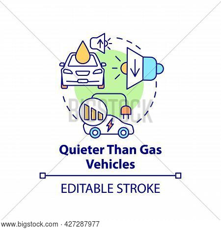 Electric Vehicles Sound Advantage Concept Icon. Reducing Noise Emission Inside And Outside Car Abstr