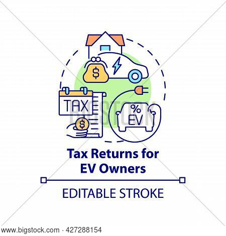 Electric Vehicles Owners Tax Returns Concept Icon. Ev Zero Emissions Abstract Idea Thin Line Illustr