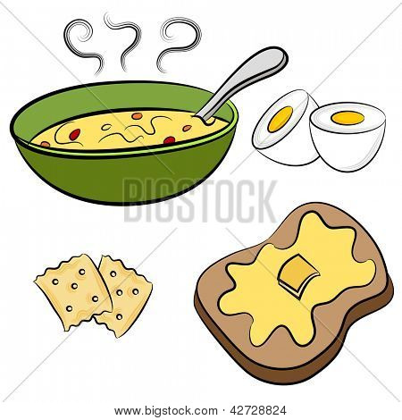 An image of a bowl of soup, hardboiled egg, crackers and toast.
