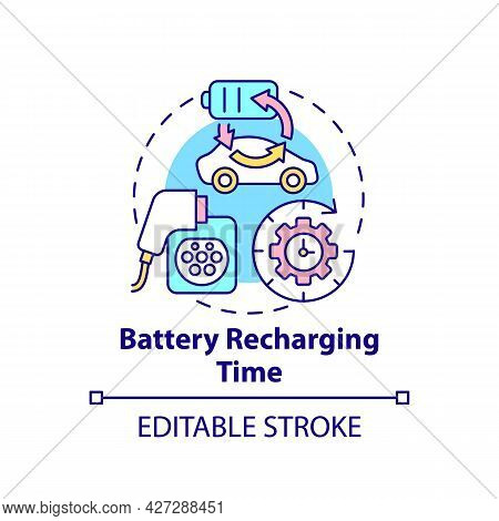 Electric Vehicles Battery Recharing Time Concept Icon. Ev Charge Opportunities Abstract Idea Thin Li