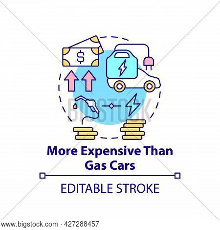 Electric Vehicles Cost Difference Concept Icon. Ev Expensive Maintenance Abstract Idea Thin Line Ill