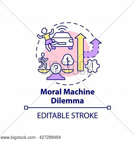 Moral Machine Dilemma Concept Icon. Artificial Intelligence Decision. Ai Choice Abstract Idea Thin L
