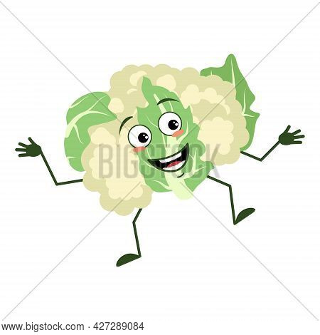Cute Cauliflower Character Cheerful With Emotions Dancing, Smile Face, Arms And Legs. The Funny, Hap