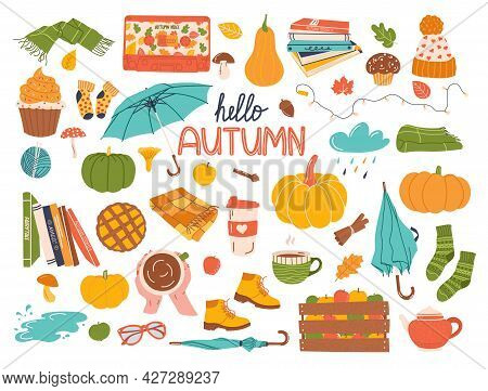 Vector Set Of Autumn Icons: Pumpkin, Scarf, Hat, Blanket, Umbrella, Leaves And Others.