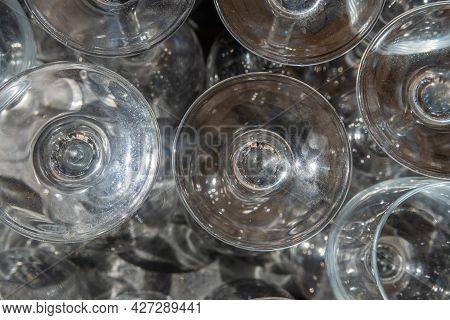 Close-up Of Geometrically Mounted Crystal Wine Glasses Creating Abstract Effects Due To Refraction A