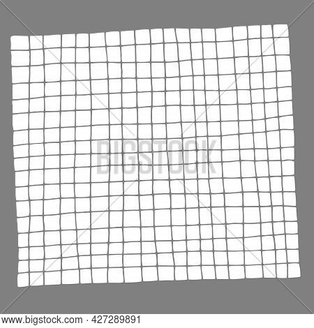 Vector Outline Of Cells Isolated On Gray Background, Drawn By Hand With Pen And Ink, Can Be Used In