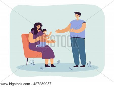 Son Sitting On Mothers Knees, Reaching Out With Hands To Dad. Young Parents Spending Time With Their