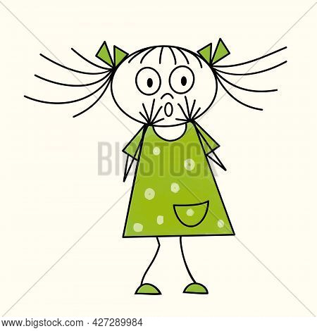 The Little Girl In Green Dress Looks On With A Surprised Expression. Vector Illustration Isolated On