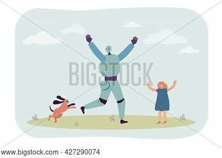 Robot, Dog And Girl Having Fun On Lawn Flat Vector Illustration. Outdoor Activity, Cyborg, Technolog
