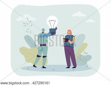 Robot Standing With Girl And Holding Light Bulb. Cyborg Generating Creative Ideas Flat Vector Illust