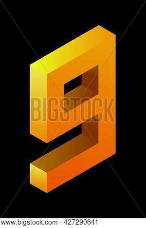 Gradient Golden Number 9 In Isometric Style. Yellow Figure Isolated On Black Background. Learning Nu