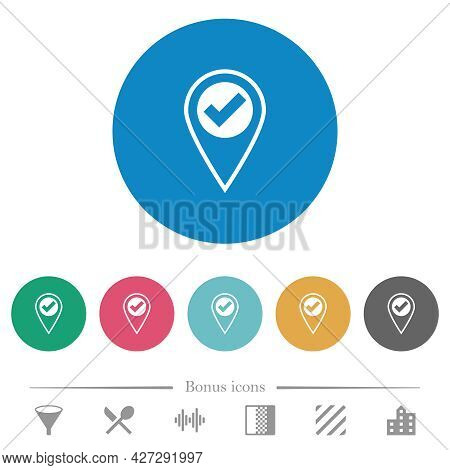 Gps Location Ok Flat White Icons On Round Color Backgrounds. 6 Bonus Icons Included.