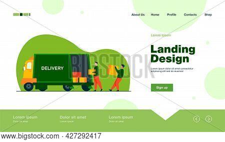 Loading Workman Carrying Boxes. Van, Vehicle, Loader Flat Vector Illustration. Transportation And Re