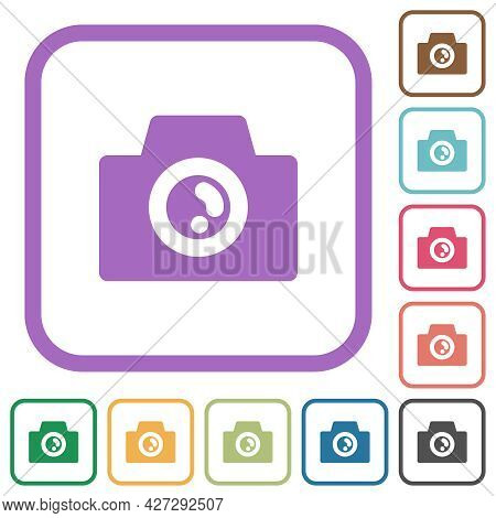 Camera Solid Simple Icons In Color Rounded Square Frames On White Background