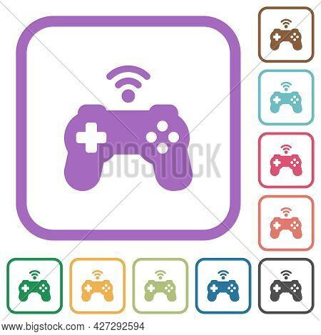 Wireless Game Controller Simple Icons In Color Rounded Square Frames On White Background