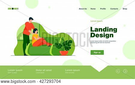Happy Young Couple At Home. Cheerful Guy Massaging Shoulders Of His Girlfriend Flat Vector Illustrat