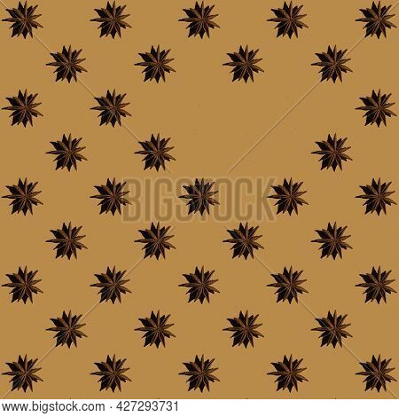 Pattern From Anise Stars With Copy Space On Beige Background