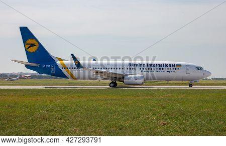 Ukraine, Odessa - July 16, 2021: Passenger Aircraft Ur-psz Ukraine International Airlines Boeing 737