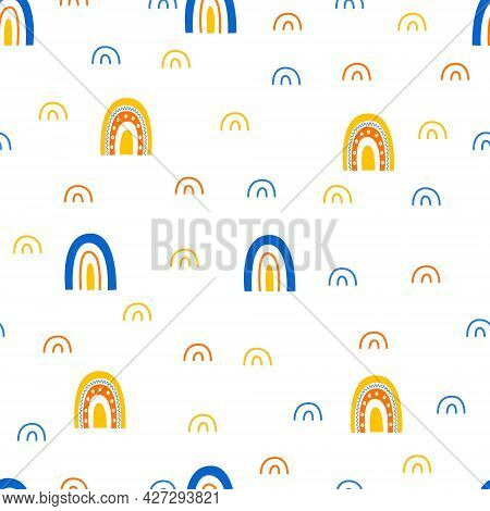 Rainbow And Arc Cute Seamless Pattern In Flat Cartoon Doodle Style. Printing For Children. Print For