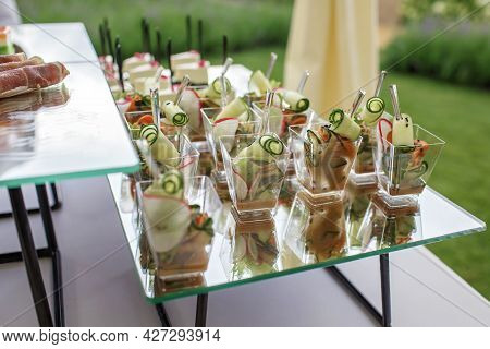 Backyard Barbeque Party At Summer, Elegant Decoration, Luxury Catering, Tasty And Beautiful Food On